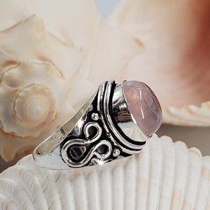 Silver Ring Natural Rose Quartz Stone